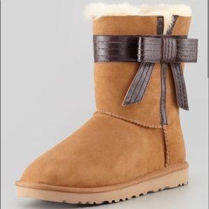UGG Josette Suede Sheepskin Mid- Calf Boots Size 7